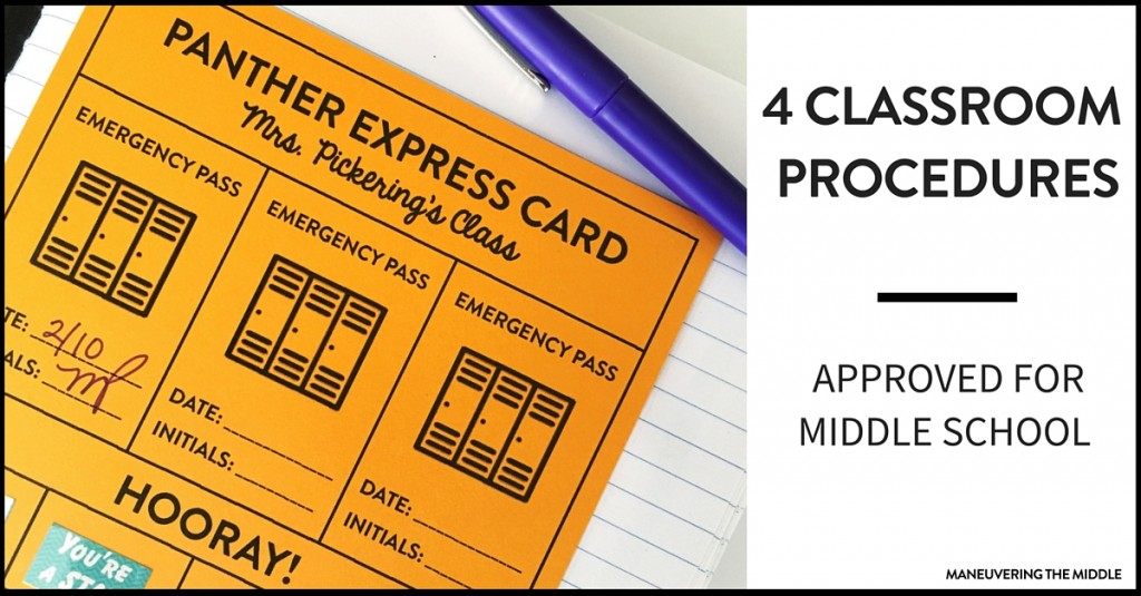 4 Classroom Procedures for Middle School - Easy tips and tricks you can begin implementing tomorrow, including a free printable.