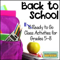 Back to School Activities for Middle School | Maneuvering the Middle