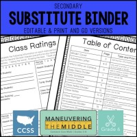 Substitute Binder for Middle School | Maneuvering the Middle