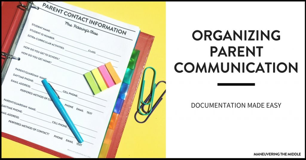 One of the first rules of parent communication is documentation. Ideas and a free printable to make documenting and organizing parent communication easy!