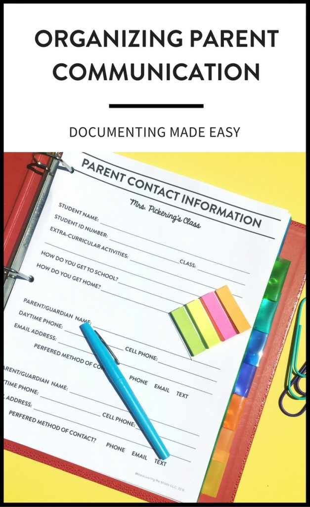 One of the first rules of parent communication is documentation. Ideas and a free printable to make documenting and organizing parent communication easy! | maneuveringthemiddle.com