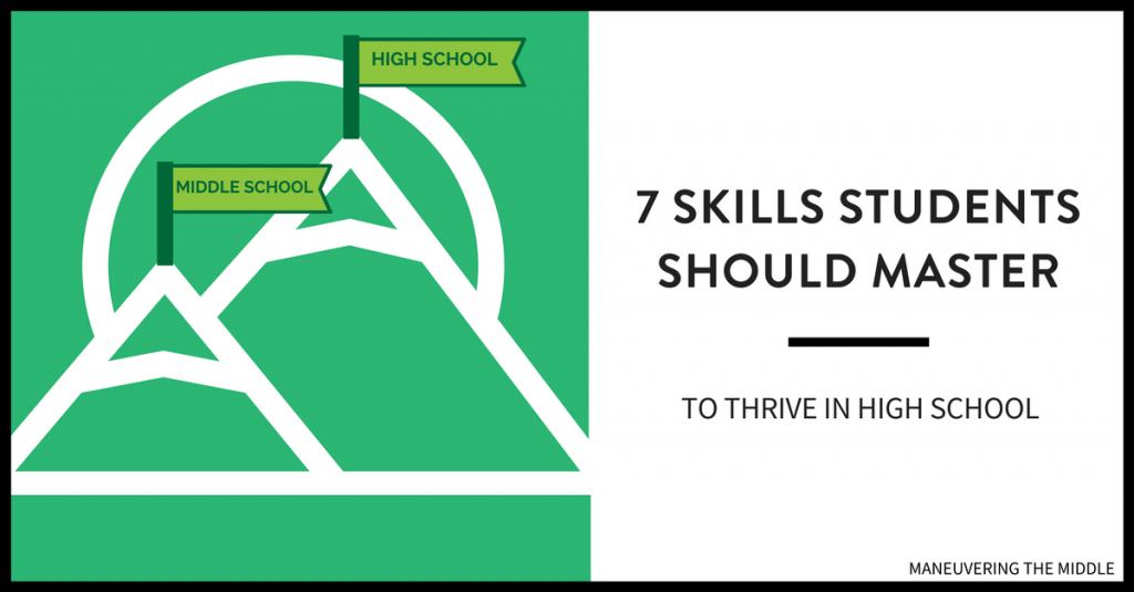 There are middle school math skills students must master to thrive in high school. This post discusses the 7 most important skills. | maneuveringthemiddle.com