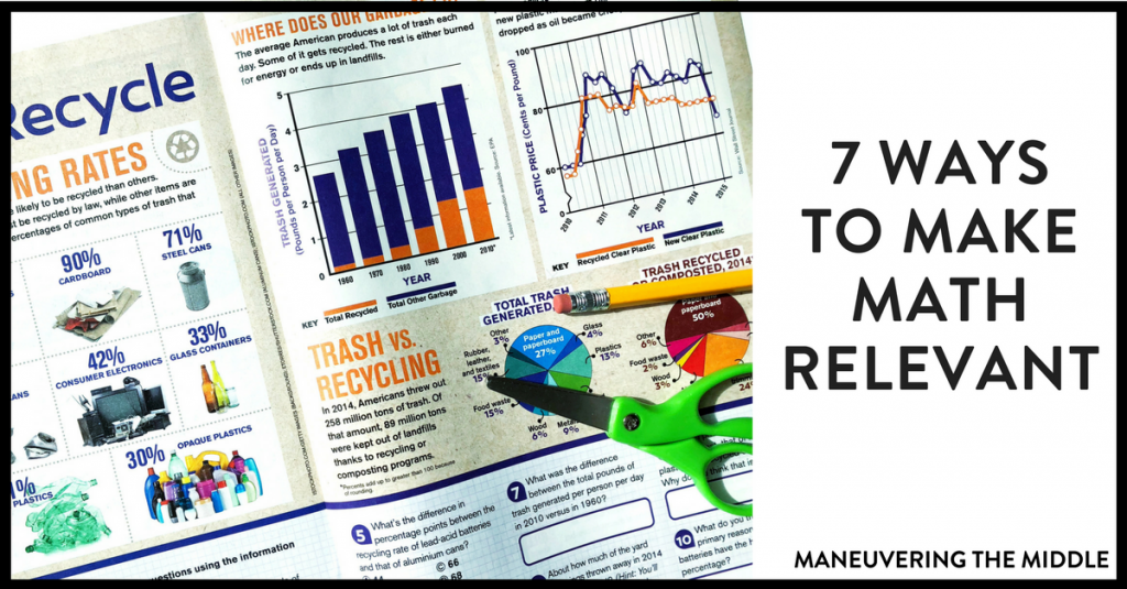 We use math everyday, but sometimes students struggle to see this. Here are 7 ways to make math relevant in that classroom!