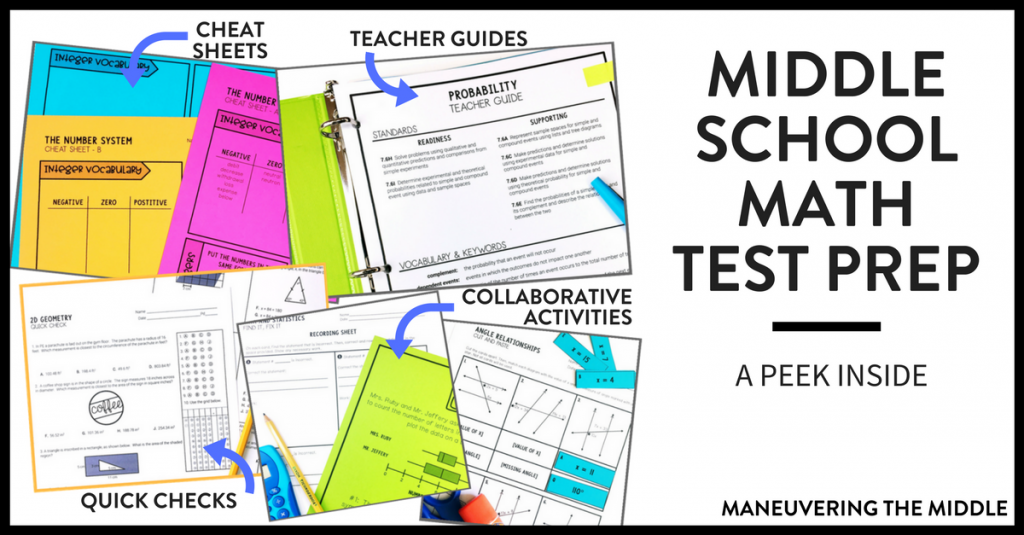 Ideas and resources for implementing middle school math test prep in your classroom! Keep test prep engaging and hands-on with less prep for teachers. | maneuveringthemiddle.com