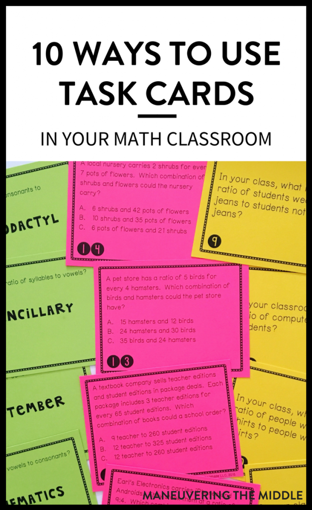 There seems to be no shortage of task cards out there as a resource for students and teachers. The question is how to incorporate these tools as meaningful and engaging work in your classroom. I have compiled a list of ideas how I have used task cards in the last year or how I have seen other teachers use task cards.   maneuveringthemiddle.com