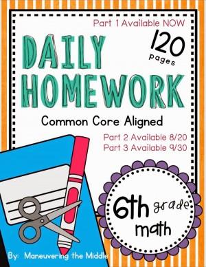 CCSS Homework for 6th Grade