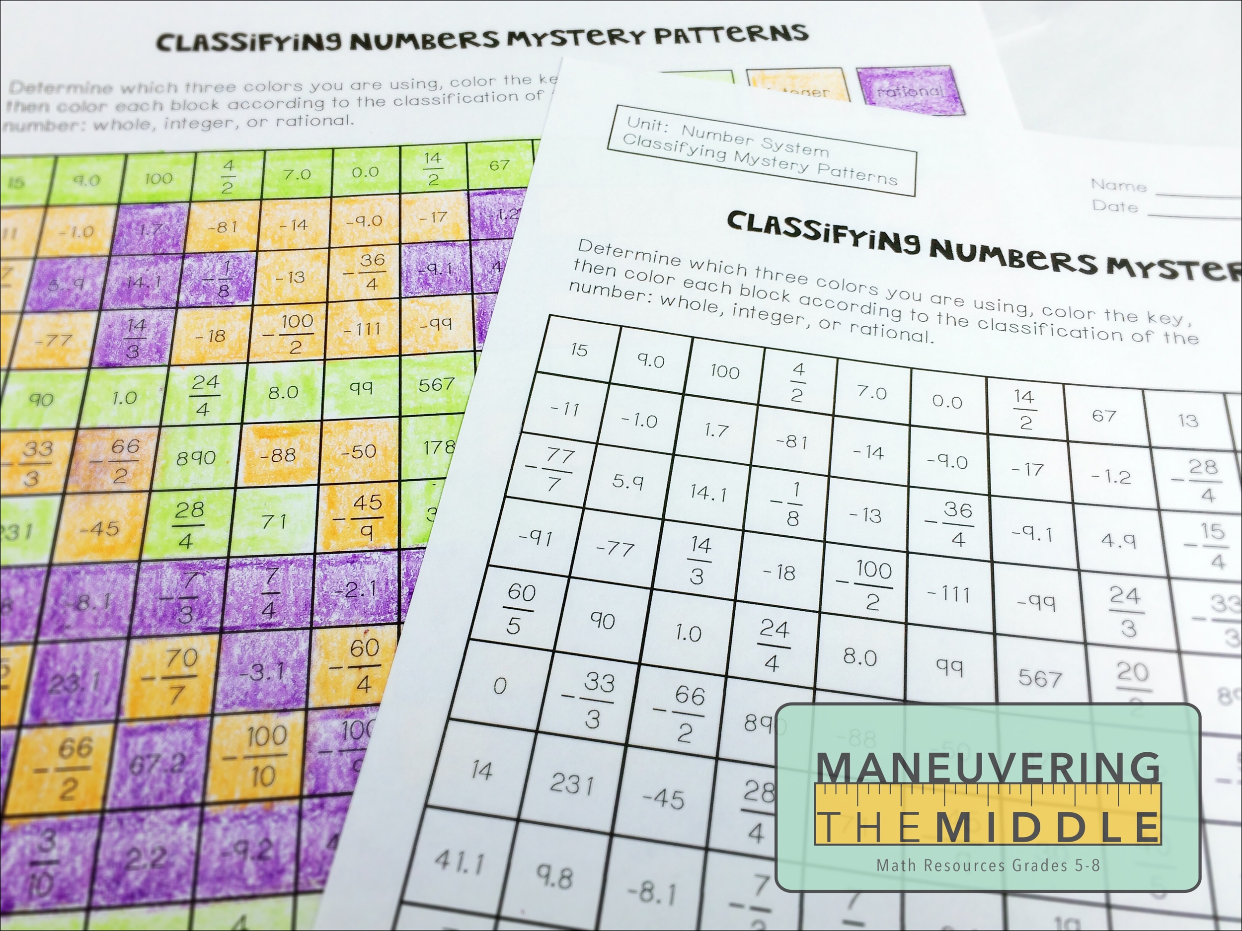 Resources for The Number System Maneuvering the Middle – Ordering Real Numbers Worksheet