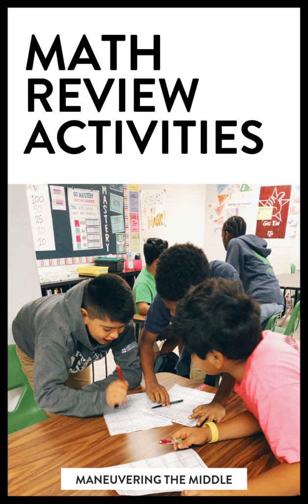 Math review games can breath life into your classroom and teaching. Most students enjoy getting out of their seats and going their work in another part of the class, whether that be with a group or individually. | maneuveringthemiddle.com