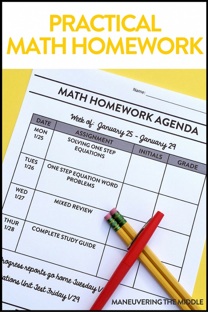 Math homework is quite the debated topic, but it CAN be practical and useful. Quick tips on organizing homework using an agenda. | maneuveringthemiddle.com