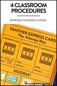 4 Classroom Procedures for Middle School - Easy tips and tricks you can begin implementing tomorrow, including a free printable. | maneuveringthemiddle.com