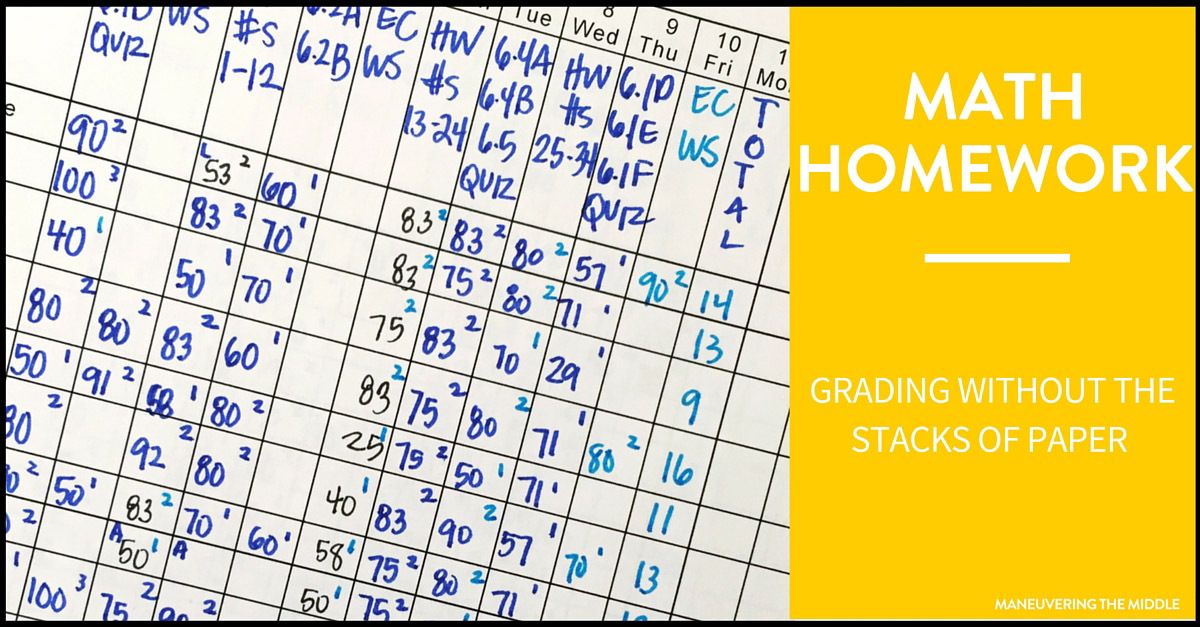 Grading Math Homework Made Easy - Maneuvering the Middle