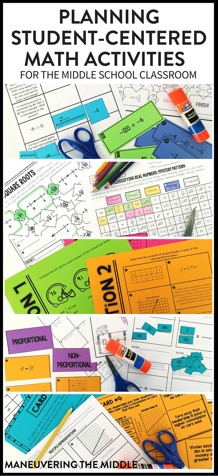 Five student-centered math activities that are easy to plan and implement. How to utilize math activities for all levels of learners. | maneuveringthemiddle.com