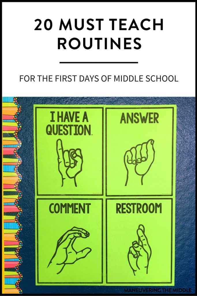 Elementary Classroom Procedures ~ Must teach middle school routines maneuvering the
