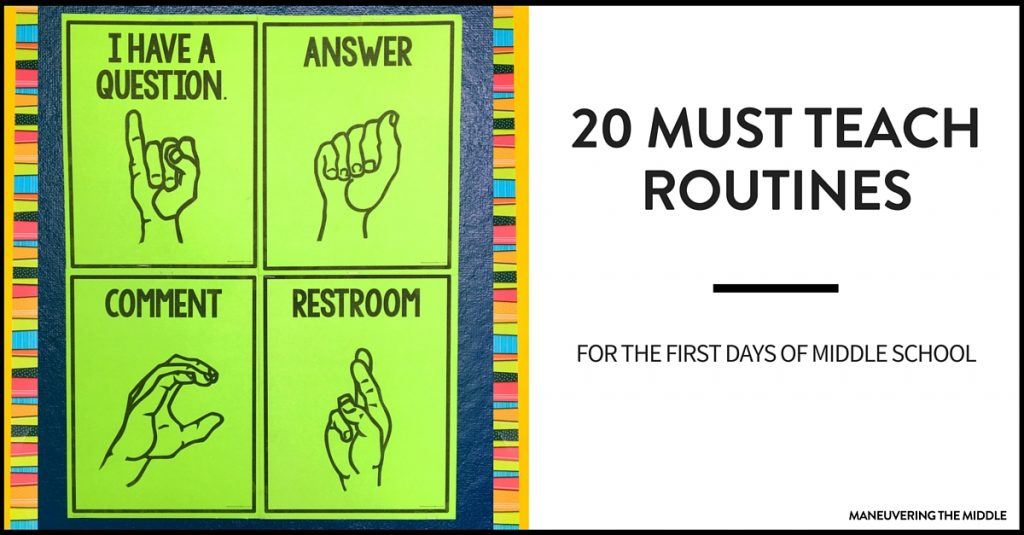 Classroom Routine Ideas ~ Must teach middle school routines maneuvering the