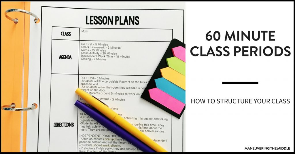 The biggest challenge with teaching middle school is the race against the clock! Ideas for how to structure a 60 minute class period.
