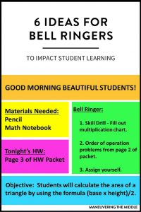 Bell ringers, warm ups, or do firsts- they all serve the same purpose: to get students working at the start of class. 6 Ideas for implementing bell ringers. | maneuveringthemiddle.com