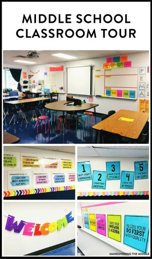 Great ideas and inspiration in this middle school classroom reveal - from decorating to small group areas to hanging posters and anchor charts.