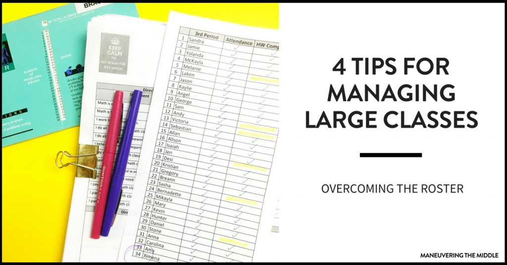 Large classes can be overwhelming, chaotic, and everything seems to take longer. Tips for managing large classes and ideas on how to overcome this reality. | maneuveringthemiddle.com