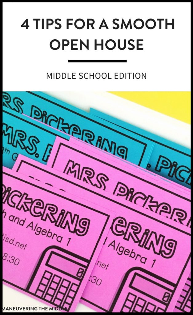 Getting ready for open house in middle school can be quite hectic. These 4 tips will help you have a smooth and productive open house. | maneuveringthemiddle.com
