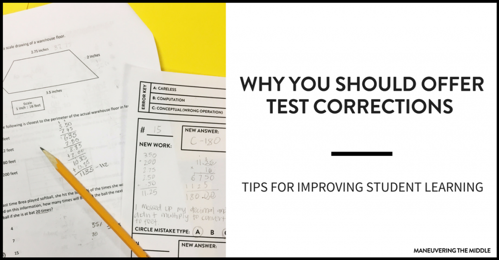 Test corrections are a great tools for pushing students and measuring their progress. Why you should offer test corrections in your class!