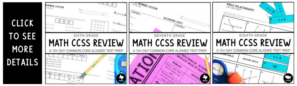 Math CCSS aligned review for grades 6, 7, and 8.