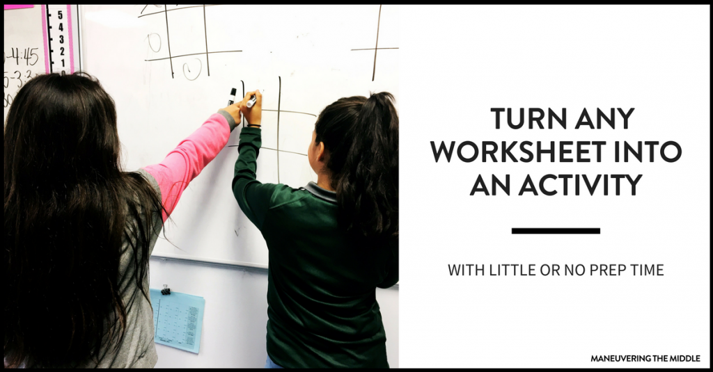 4 ideas to turn any worksheet into an activity! Perfect for a low prep day to keep students engaged and having fun with a worksheet. 4 easy math activities!