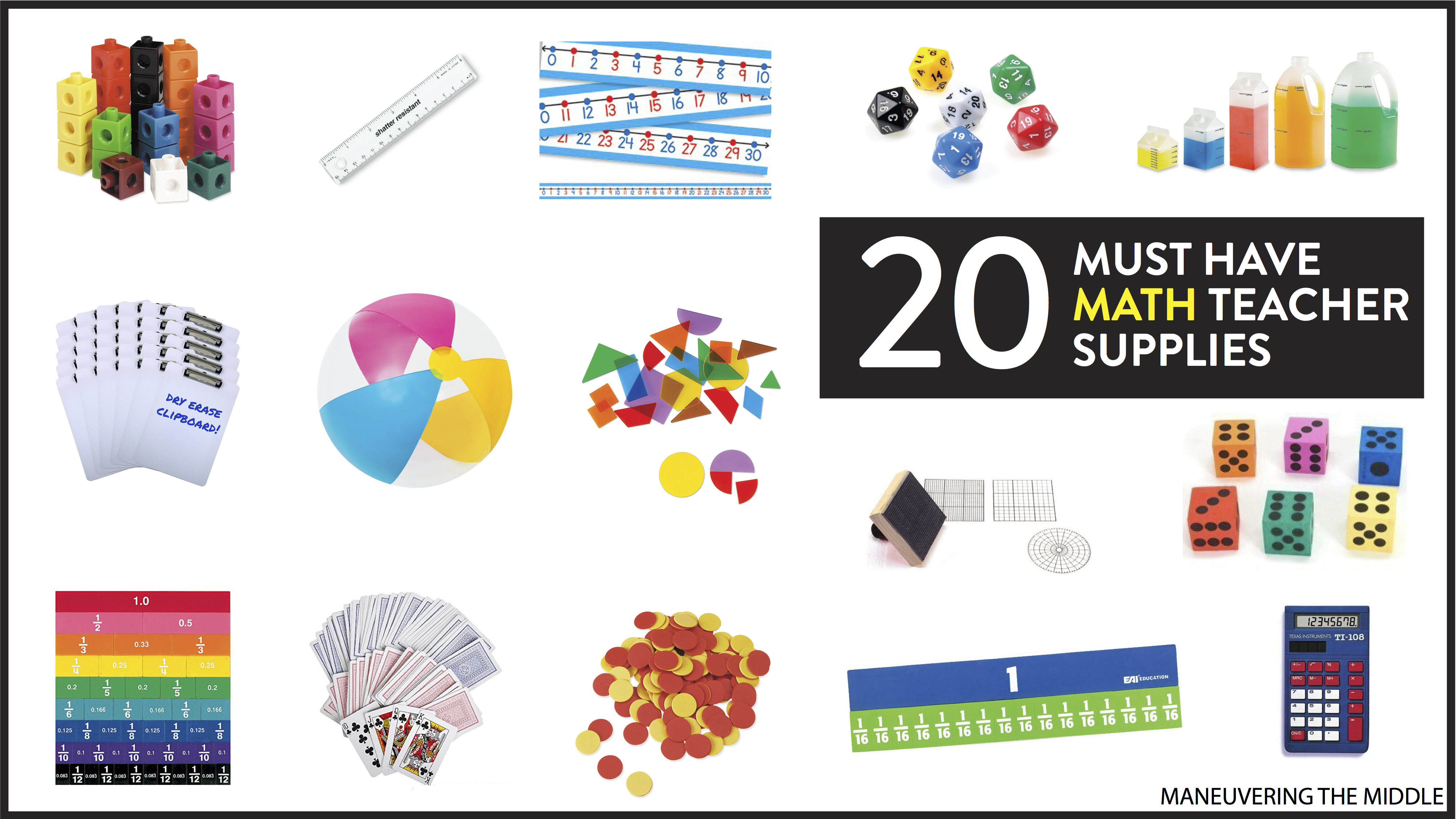 20 Must Have Math Teacher Supplies - Maneuvering the Middle