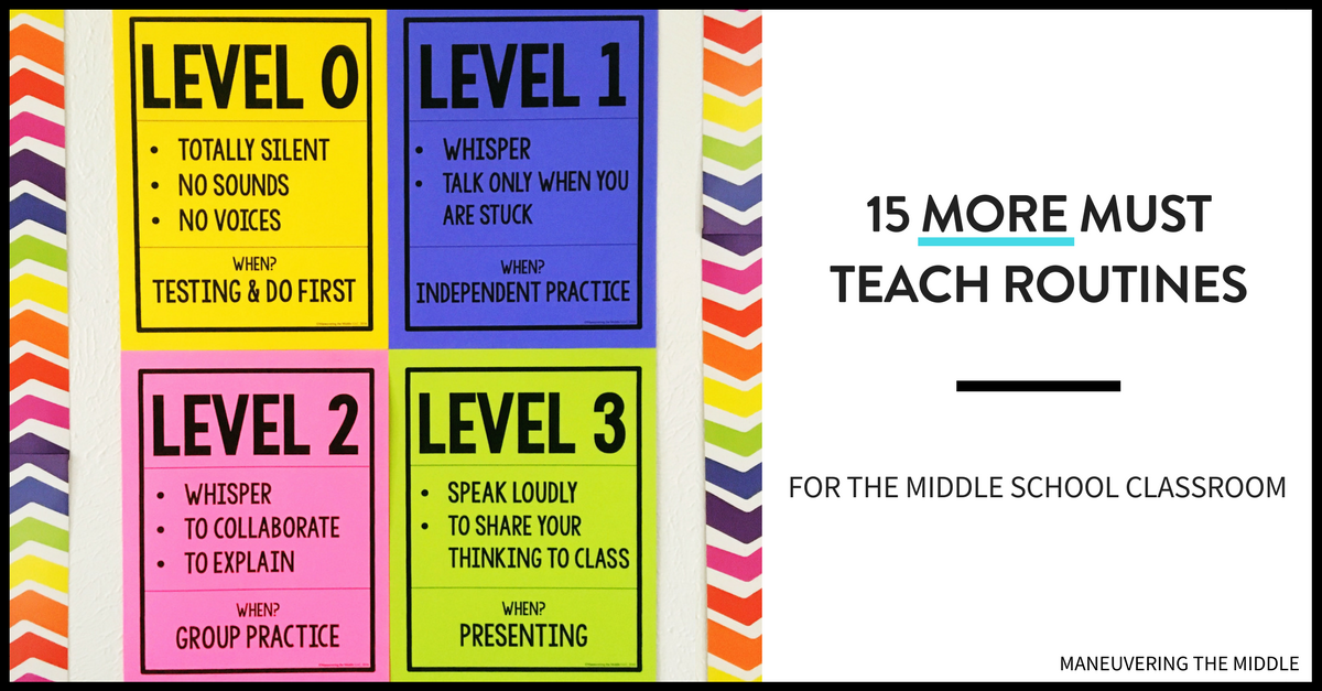 Collaborative Classroom Procedures ~ More must teach middle school routines maneuvering