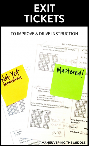 Exit tickets are a great way to gauge students' understanding, drive instruction, and invest students in mastering the content that same day.   maneuveringthemiddle.com