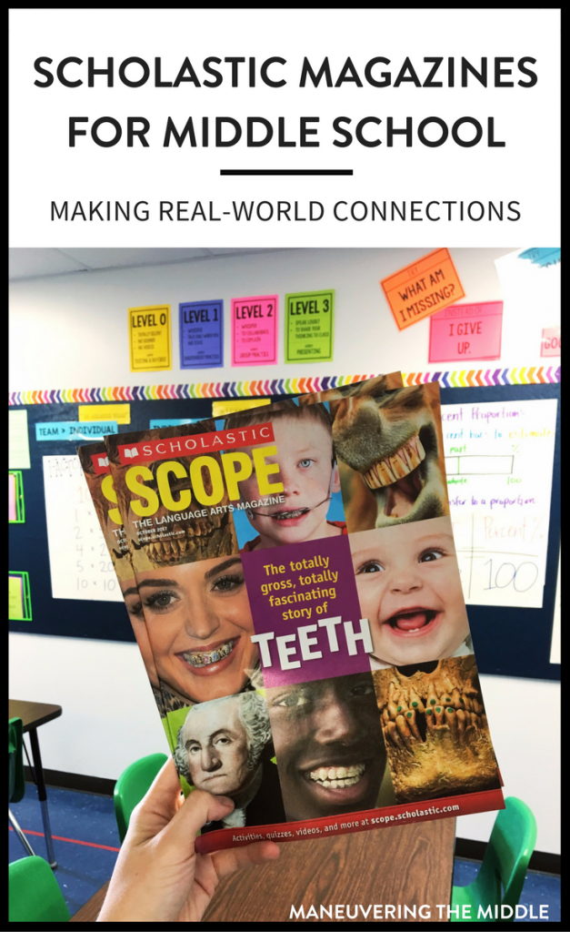 Make real-world connections and utilize current events with Scholastic Magazines for middle school. | maneuveringthemiddle.com