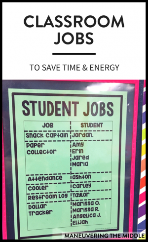 As a teacher, I firmly believe that students can learn anything. This applies to academics, character, and...helping you around your classroom! Classroom jobs are a great way to build student investment and save you time and energy!   maneuveringthemiddle.com