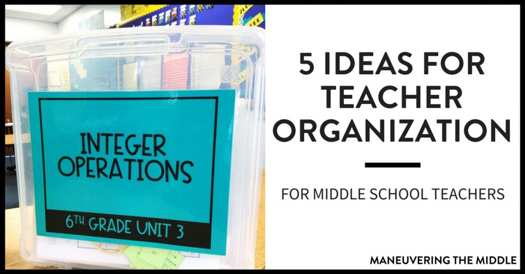 Five ideas for teacher organization to keep papers at bay and create a place for everything in the classroom!