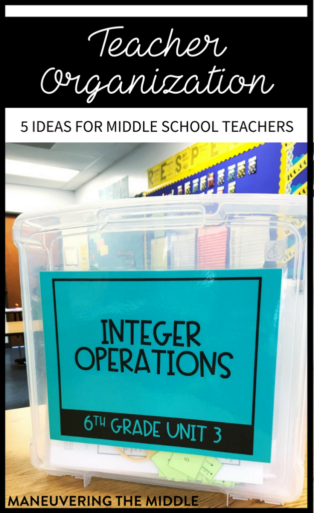 Five ideas for teacher organization to keep papers at bay and create a place for everything in the classroom! maneuveringthemiddle.com