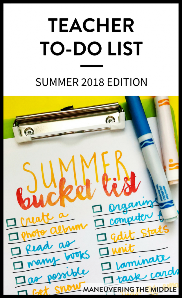 Summer is just a few weeks away which is why I have already started composing a summer teacher to do list! I intend to do many fun activities, but I also plan to get ahead for next school year by dedicating a little time to organizing and prepping materials. | maneuveringthemiddle.com