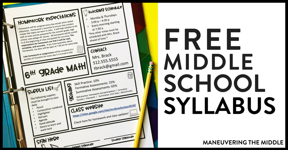 The Middle School Syllabus - Maneuvering the Middle