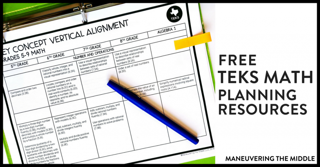 Math TEKS resources can be hard to find! Use our key concept vertical alignment and at-a-glance standards pages to ease your planning! | maneuveringthemiddle.com