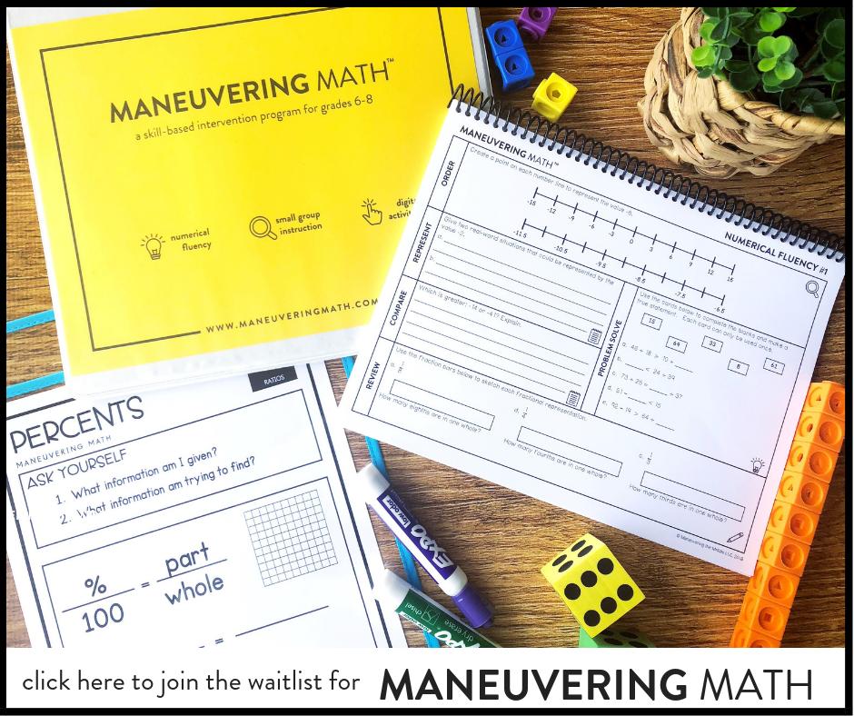Maneuvering Math - a skill based intervention program for grades 6-8 | maneuveringthemiddle.com