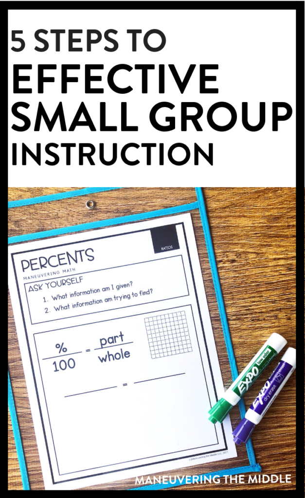 Small group instruction can seem complicated and like a lot of work. Read these 5 steps to simple and effective small group instruction. | maneuveringthemiddle.com