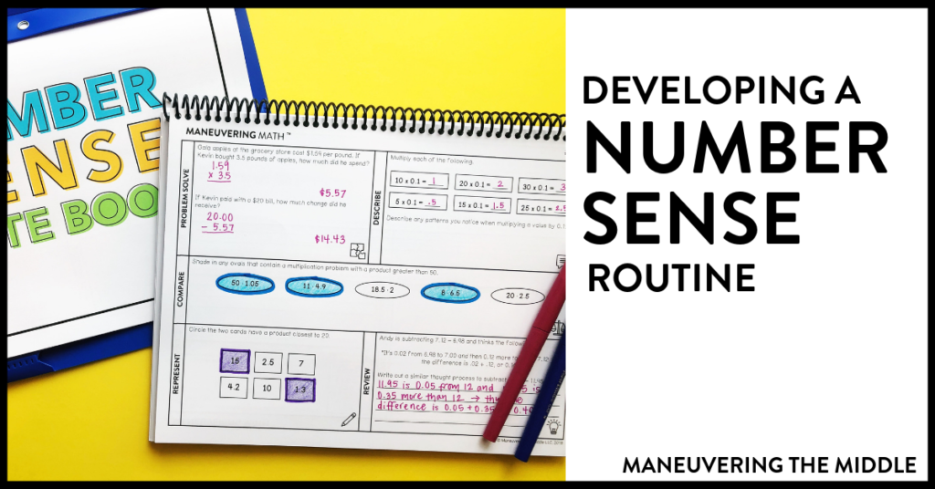 Ideas and tips for developing a number sense routine and implementing number talks in the math classroom.