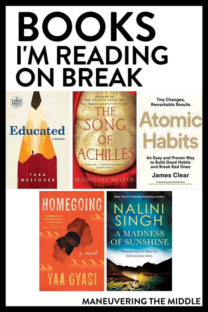 Holiday breaks are great for reading! Check out what books I am going to read over this Christmas break. | maneuveringthemiddle.com