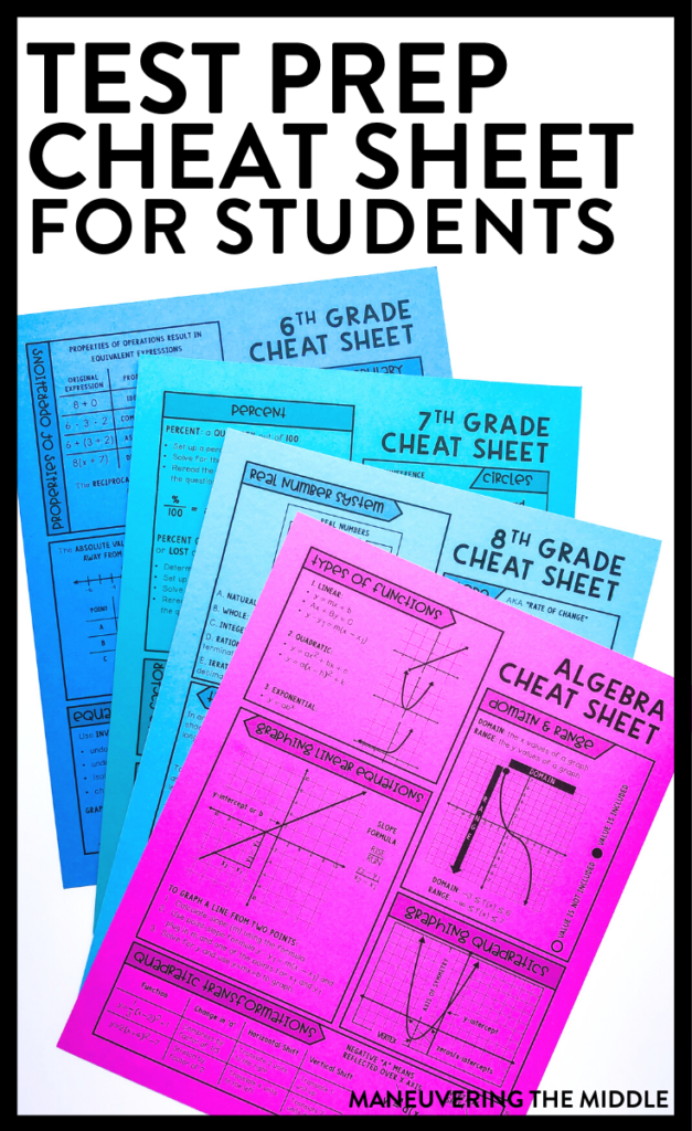 Download a freebie to aid your test prep season. Cheat sheets for 6th, 7th, 8th, and Algebra students and ideas on how you can use them in your classroom. | maneuveringthemiddle.com