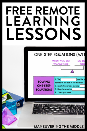 If you need a way for your students to learn math at home, check out this post to learn more about how to implement remote learning and get a free resource. | maneuveringthemiddle.com