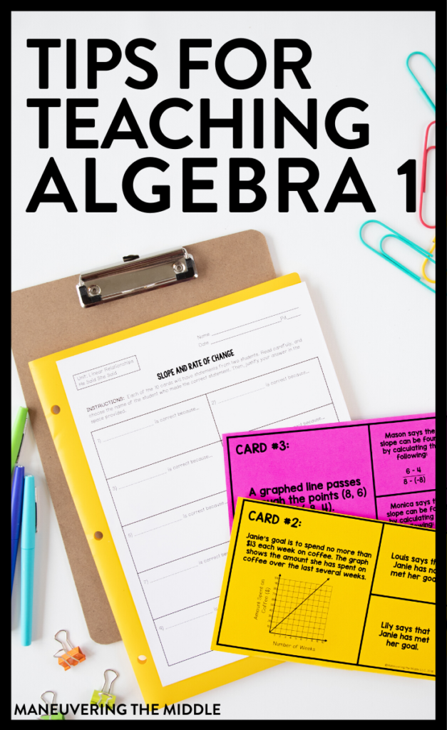 Algebra 1 is a foundational course and teaching Algebra 1 is full of unique challenges. Here are 3 tips to help you help your students succeed in Algebra 1. | maneuveringthemiddle.com